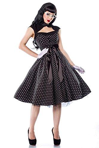 50er Jahre Rockabilly Polka-Dot Kleid mit Schleife A12119, Größe:46;Farbe:schwarz (Satin Dot Schleife Polka)