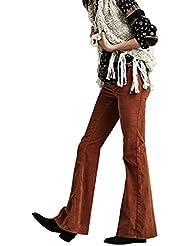 Mena UK- AA fuerte viento de las mujeres - Quality Auto - Los Abrasivos cultivo pantalones vaqueros lavados por Marca De modo independiente Big Bell - Bottoms ( Color : Turmeric , Tamaño : L )