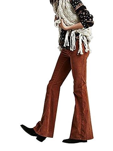 Mena UK- AA vent fort Women 's - Qualité Auto - Les Abrasifs de culture Pantalons Jeans délavés par marque de mode indépendant Big Bell - Bottoms ( couleur : Turmeric , taille : L )