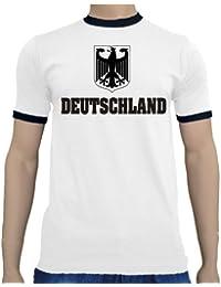 Touchlines Men's Fussball Weltmeisterschaft 2014 Deutschland Kontrast/Ringer T-Shirt4250464878271 Plain Crew Neck Short Sleeve T-Shirt