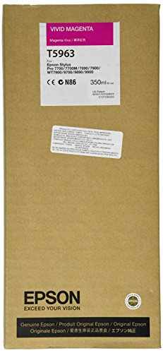 Epson T5963 C13T596300 - Cartouche d'encre d'origine - Magenta Vif (Vivid Magenta) pour Stylus Pro - 350ml