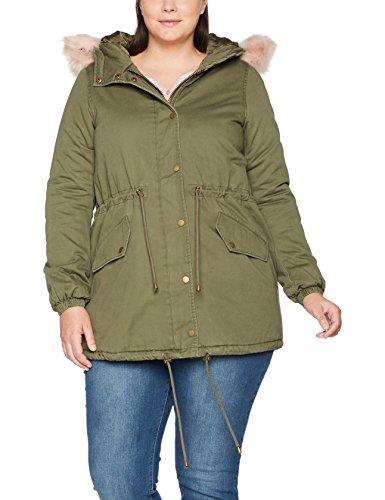 Zizzi Damen Jacke Klassischen Army Grün mit Kapuze, Große Größen 42-56