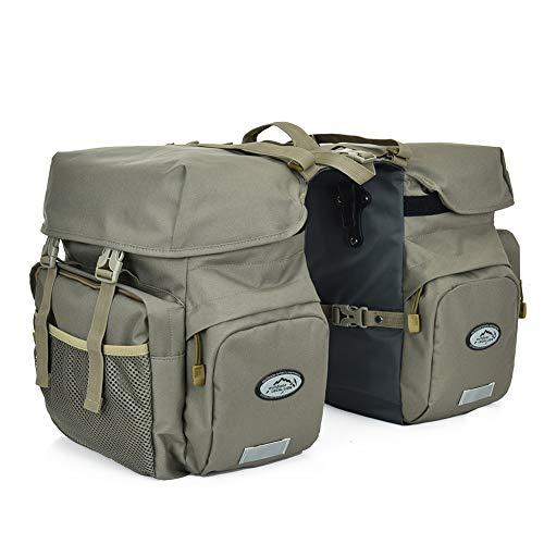 TCKGOOL Fahrrad Gepäcktaschen, 50L Gepäckträger Tasche Reißfest Groß Fahrradtaschen mit Regen-Abdeckung MTB Mountain Bike Sitz Trunk Bag (Grau)