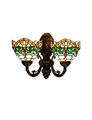DLewiee Mediterrane Wandlampe Viktorianische 2-Licht-Wandleuchte, Bronze