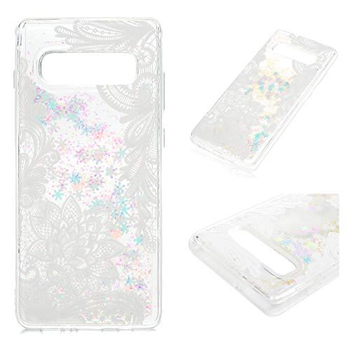 ToneSun Handyhülle für Samsung Galaxy S10 Plus Hülle,Gemalt Sequins Sparkle Flüssig Liquid Crystal Shiny Fließen Case,Quicksand Clear Bling Stars Schutzhülle in Weiße Blumen - Flüssigkeit Blumen