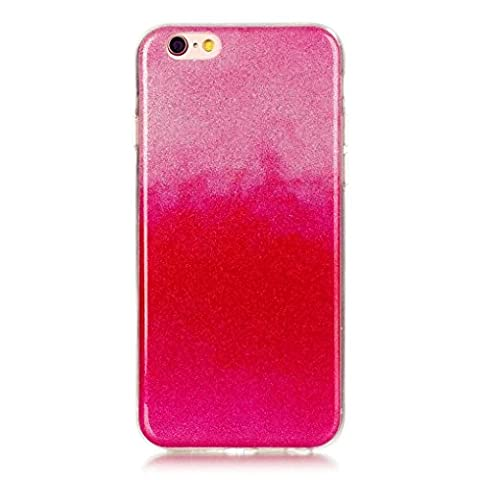 KSHOP TPU Étui Coque - Transparente Silicone Housse pour iPhone 6 iphone 6s Briller Cover Ultra Flexible Couleur Changement Hybride Anti-rayures Absorption Protecteur Affaire - Rose et Rouge