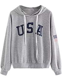5904ee602009ae Huihong Mädchen Teenager Hoodies Brief Flagge Druck Mode Kapuzen Sweatshirt  Damen Langarm Pullover…
