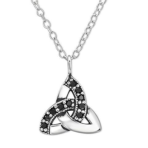 EYS JEWELRY® Damen-Halskette 45 cm Keltischer Dreiecks-Knoten Trinity 10 x 10 mm Zirkonia 925 Sterling Silber onyx-schwarz im Schmuck-Etui Anhänger Kette