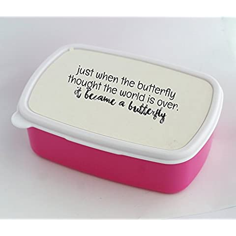 Lunch box with Just when the catepillar thought the world was over it became butterfly