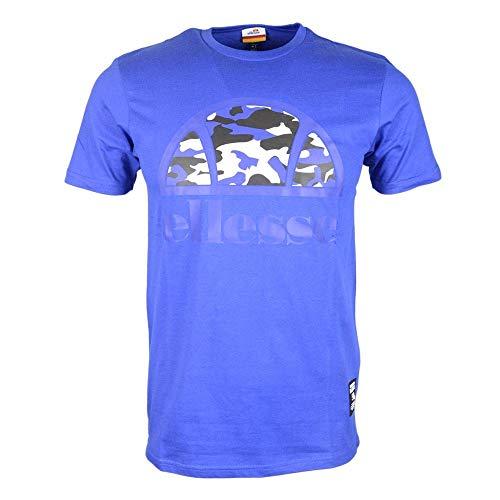 ellesse T-Shirt Atelia Herren Camo Logo Blau Rundhals T-Shirt - Blau, S - X-large Blau Camo