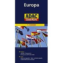 ADAC Länderkarte Europa 1:2.500.000: Register: Legende, Themenkarte, Ortsregister mit Postleitzahlen / Karte: Sehenswürdigkeiten,Natur- und Nationalparks, landschaftlich schöne Strecken