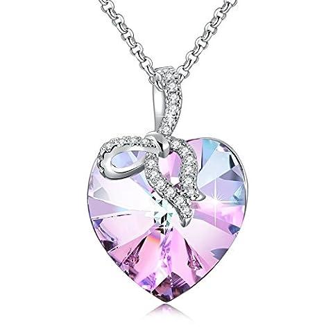 Collier Femme Coeur Fin Bijoux avec Swarovski Cristal Pendentif Coeur, Insolite Cadeau Anniversaire Femme Copine, Ne m