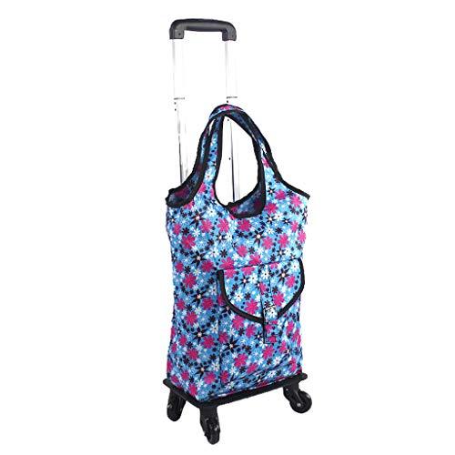 JHome-Einkaufstrolleys Einkaufstrolley Leicht Faltbar Reisemobilität Einkaufswagen-Tasche Wasserdichte Oxford Stofftasche / 4 tragende Räder tragbare Tote große Kapazität mit verstellbarem Griff