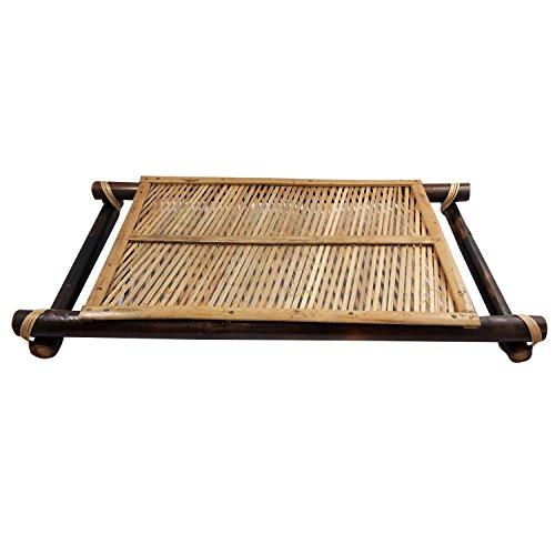 Pure en bambou 6 pièces et plateau de service en bambou en verre avec poignée faite à la main faite en bambou Art Utilisation pour la maison et décoration de bureau avec Sensation de luxe | Meilleur respectueux de l'environnement authentique Multi Occasionnels Cadeau