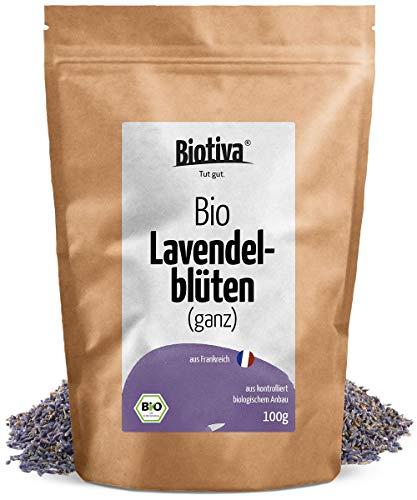 Lavendelblüten - blau, ganz (Bio, 100g) - Beste Bio-Qualität - Für Lavendel-Tee, als Bad oder als Duft - im wiederverschließbaren Aroma-Frischebeutel -