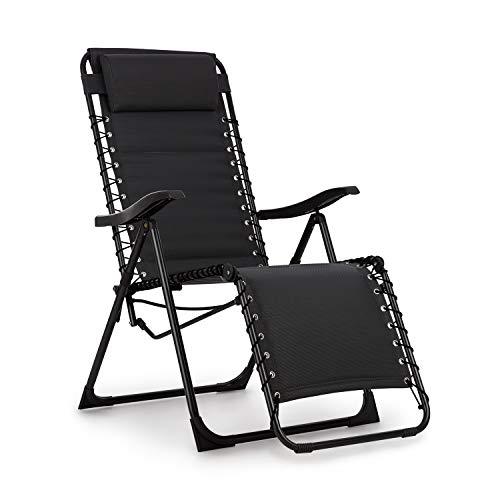 blumfeldt California Dreaming Sonnenliege - 4 cm hohe Polsterung, verstellbare Rückenlehne, Stahlrahmen, abnehmbares und höhenverstelbares Kopfkissen, PureRelaxation System, ergonomisch, schwarz