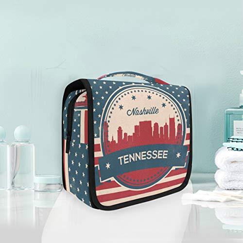 he Tragbare Tennessee State Nashville Vintage Amerikanische Flagge Reise Aufbewahrungstasche Kulturbeutel für Frauen Dame ()
