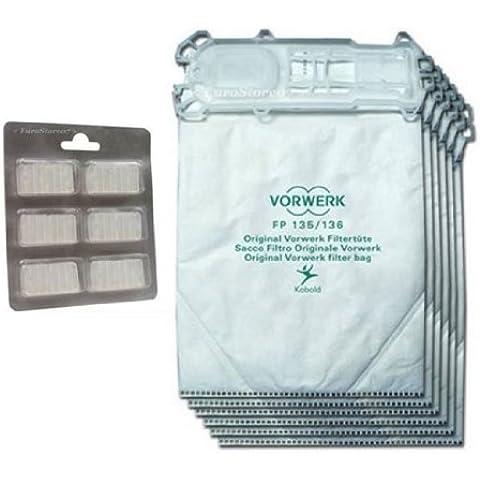 6Original bolsas de aspiradora + 6aromas para Vorwerk Kobold VK 135, 136