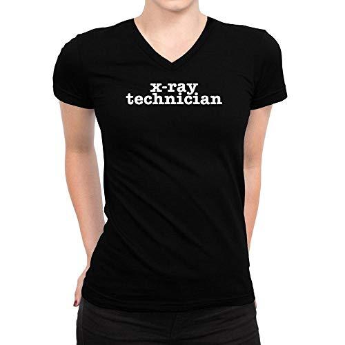 Bold X-ray (Idakoos X Ray Technician Bold Typewriter Damen V-Ausschnitt T-Shirt M)