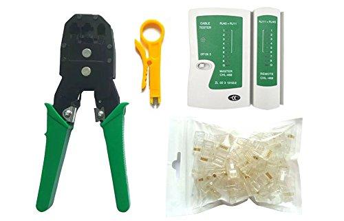 4en 1testeur de câble + Pince à sertir Pince à sertir + Pince à dénuder + 100RJ45RJ114P Fiche de connecteur réseau Outil Kits # 81227