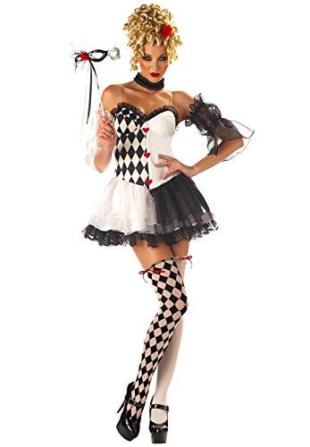 (Harlekin Damen Kostüm Gr. S M 38-40 - Clown Costume Schwarz Weiß)