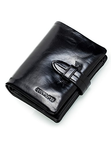Contacts Mens Genuine Leather Cowhide Card Coin Purse Bifold Wallet Dark Brown Schwarz2