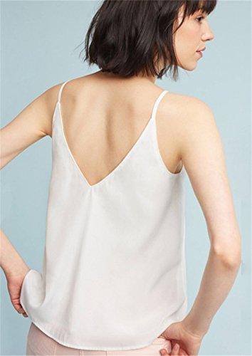 Moda Senza Maniche Asimmetrico con Spalline Fondo Balze Ruches Volant Blouse Cami Vest Canotte Tank Shirt Top Bianco Bianco