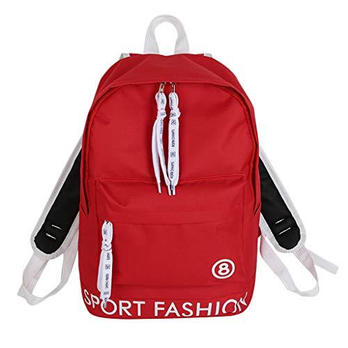 Schultasche Damen Rucksack Elegant handtaschen Mädchen Schule Student Im Freien Reise Backpack Anti Diebstahl Taschen Qmber,Studententaschenreise des College Creative Grid,Red
