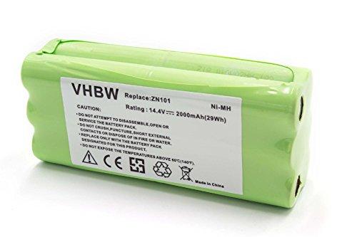 vhbw NiMH Akku 2000mAh (14.4V) für Saugroboter Home Cleaner Heimroboter Sichler PCR-1550M, Puppyoo V-M600, VBot T270
