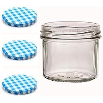 Sturzgläser lot de 100 petits pots en verre de 125 ml pour confiture avec couvercle to 66 à carreaux vichy bleus