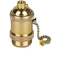 Splink E27 Retro Portalámparas con Interruptor Giratorio Vintage Edison Screw Bombilla Holder Light Socket