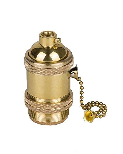 HJXDtech - Vintage Support pour Ampoule E27 Douille Culot de Lampe Avec Interrupteur de Chaîne en Cuivre Laiton Couleur Cuivre