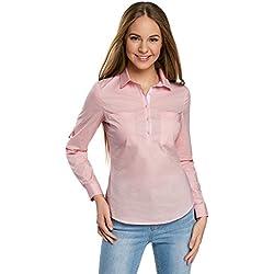 oodji Ultra Damen Hemd Basic mit Brusttaschen, Rosa, DE 42 / EU 44 / XL