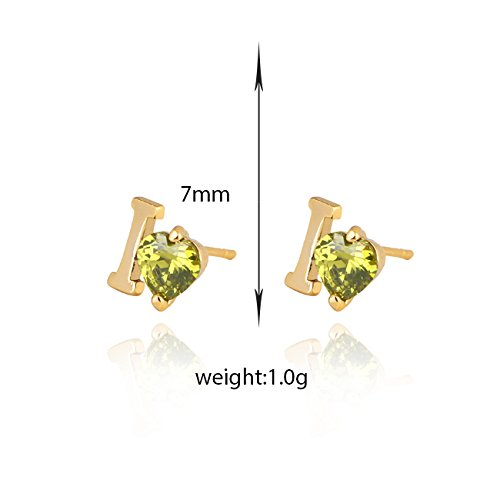 YAZILIND Elegant Ich liebe dich Form Gold überzogene grüne Zirkonia Ohrstecker für Frauen