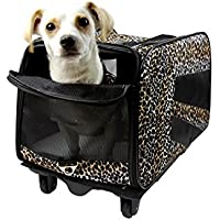 Pet Smart carrito, tamaño mediano,, diseño de piel de leopardo Rolling mochila con ruedas suave cara plegable plegable bolsa de viaje, perro, gato, apto en aerolíneas bolso equipaje mochila