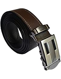 Sunshopping men's brown synthetic leather auto lock buckle belt(DFG-AAA-001)