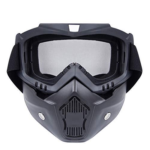 Lafeil Sportsonnenbrille Transparent Damen Herren Im Freien Lokomotivmaske Schutzbrillen Motorrad Retro Helm Reiten Off Road Schutzbrillen Clear