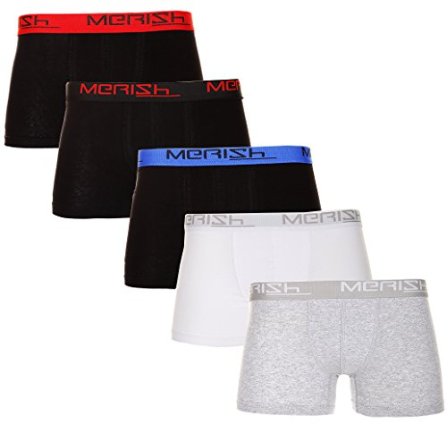 MERISH Herren Boxershorts Retroshorts 5er/10er Pack versch. Farben Modell 212 5erSet Mehrfarbig
