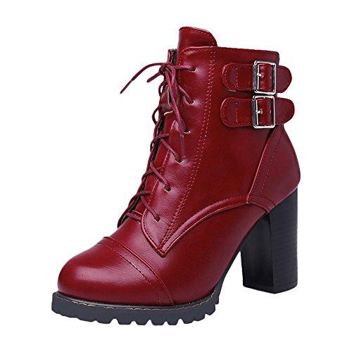 Mee Shoes Damen mit Schnürsenkel High Heels Kurzschaft Stiefel (46, Gelbbraun)