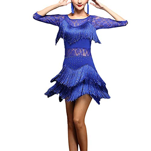 Dance Flapper Kostüm - LULUVicky-WMDress Latin Dance Dress Frauen Funkelnde Pailletten verschönert Fransen Quaste Flapper Latin Dance Kleid halbe Hülse Blumenspitze Ballroom Dancewear Wettbewerb Performance Kostüme