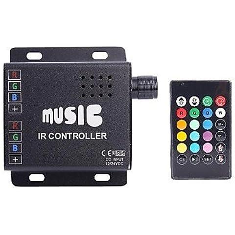 XMQC*DC12-24V Anodo comune due IR striscia 24chiave musica RGB Controller RGB LED Strip controller remoto (non è possibile inserire audio)