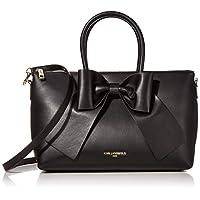 Karl Lagerfeld Paris womens Kris Large Bow Satchel Bag, Black/Black, One Size US