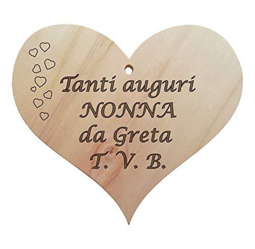 Idea regalo Festa dei nonni Compleanno Natale CUORE legno + frase personalizzabile