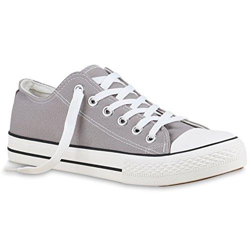 Stiefelparadies Damen Sneakers Turn Freizeit Low Sneaker Übergrößen Prints Glitzer Denim Schuhe 129543 Grau 43 Flandell (Herr Grau Kostüm)