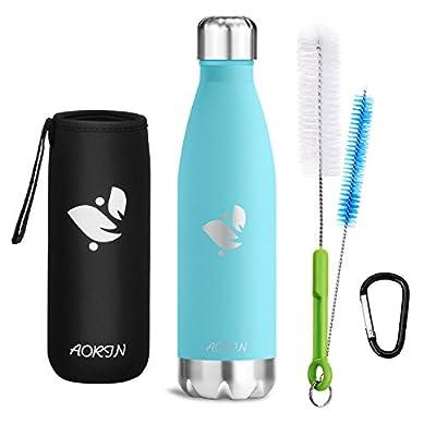 Aorin Vakuum-Isolierte Trinkflasche aus Hochwertigem Edelstahl - 24 STD Kühlen & 12 STD Warmhalten Pulverlackierung Kratzfestigkeit Leicht zu Reinigen.