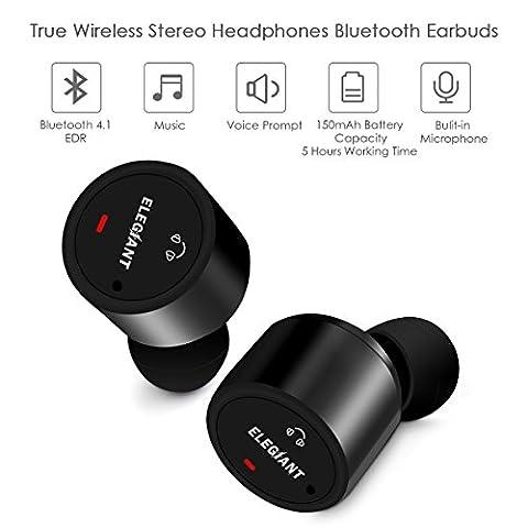 Oreillette Bluetooth, ELEGIANT Mini Écouteurs Bluetooth Sans fil Casque Stéréo In Ear Headphones Earbuds Intra-auriculaire Mains-libres avec Microphone pour iPhone 8 7 7Plus 6 6s 6Plus iPad Samsung S8 S7 S6 Edge S5 Note 5 Sony LG PC Tablets