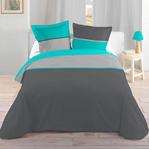 Lovely Casa HP31436014 Bicolor Housse de Couette + 2 Taies d'Oreiller Coton Turquoise 240 x 220/63 x 63 cm