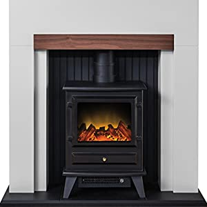 Adam Salzburg Stove Suite in Cream with Hudson Electric Stove in Black, 39 Inch