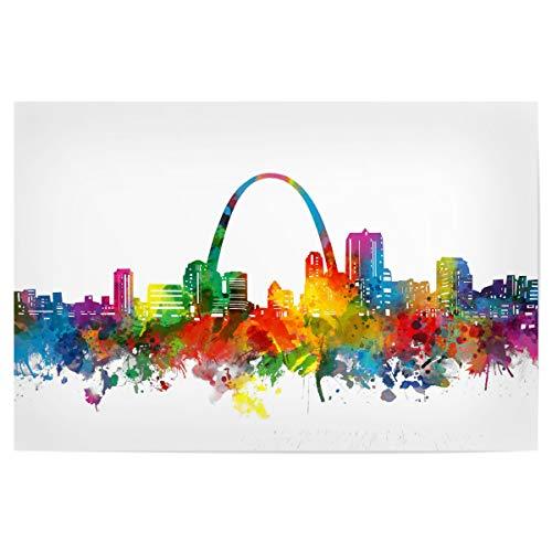 artboxONE Poster 45x30 cm Städte St Louis Skyline Watercolor - Bild st Louis Missouri Cityscape (St Louis Skyline Poster)