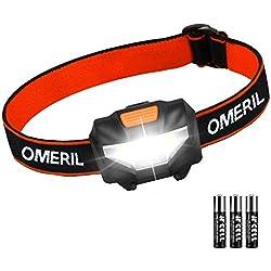 Linterna Frontal LED OMERIL Linterna Cabeza (3 Pilas AAA Incluidas), Super Ligera (43g), 3 Modos de Luz, IP44 Impermeable, 150 Lúmenes Frontal LED para Niños, Correr, Caminar, Acampar, Pescar, Camping